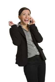 Free Pretty Young Business Woman Laughing On White Stock Photos - 18630463