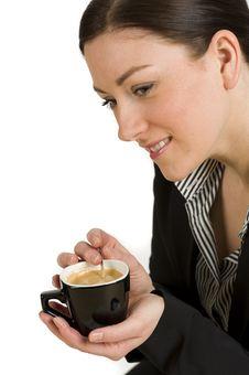 Free Beautiful Woman Enjoying Coffee Royalty Free Stock Photos - 18630528