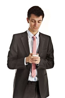 Man Writing Message On Cellphone Stock Photos