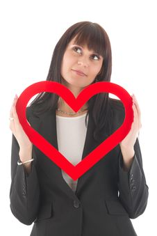 Woman With Red Heart Stock Image