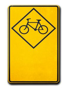 Free Yellow Warning Signs Bicycle Royalty Free Stock Photo - 18632335