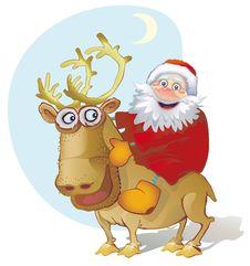Free Santa On A Reindeer Stock Photo - 18633870