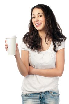 Young Woman With Cup Of Coffee Stock Image