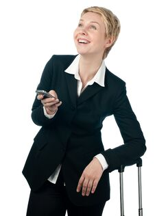 Free Business Woman With Mobile Phone Royalty Free Stock Photography - 18635577
