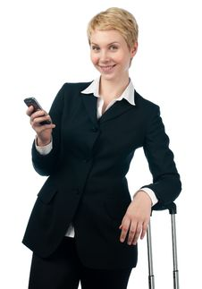 Business Woman With Mobile Phone Royalty Free Stock Photo