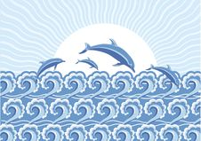 Free Vector Blue Dolphins Jumping In Sea In Sun Day Royalty Free Stock Images - 18635809