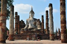 Ruin Buddha Statue In Sukhothai Royalty Free Stock Photography