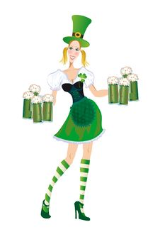 Free Merry Waitress With Glasses Of Green Beer Stock Photography - 18635942