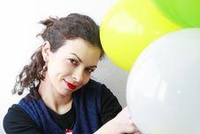 Free Woman Holding Balloons Stock Photos - 18636933