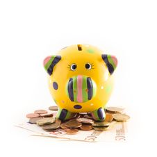 Piggy Bank With Money Royalty Free Stock Image