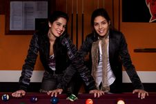 Free Two Girls Next To A Snooker Table Stock Photo - 18637840