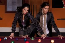 Free Two Girls Next To A Snooker Table Stock Images - 18637844