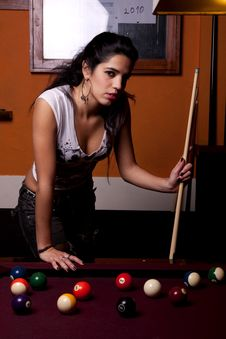 Free Girl On A Snooker Table Royalty Free Stock Photography - 18638197