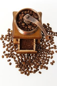Coffee Mill With Roasted Beans Royalty Free Stock Images