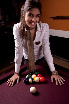 Free Girl On A Snooker Table Royalty Free Stock Photos - 18638558