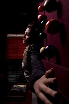 Free Girl On A Snooker Table Stock Images - 18638934