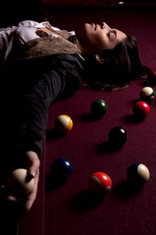 Free Girl On A Snooker Table Royalty Free Stock Photos - 18638988