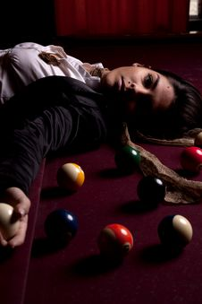 Girl On A Snooker Table Royalty Free Stock Images