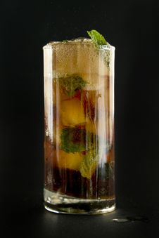 Free Glass With Cola Ice And Mint. Royalty Free Stock Photography - 18639137