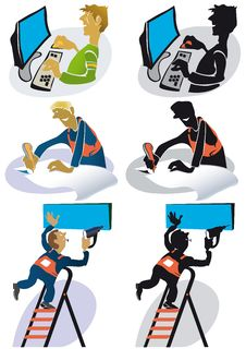 Free Cartoon Silhouettes Of Men In Various Professions Royalty Free Stock Photography - 18640537