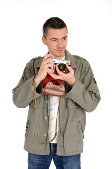 Young Photographer With Retro Film Camera Stock Photo