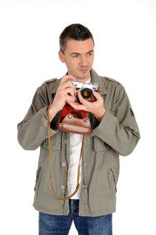 Young Photographer With Retro Film Camera