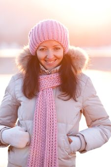 Positive Smiling Girl In Winter Clothes Royalty Free Stock Photo