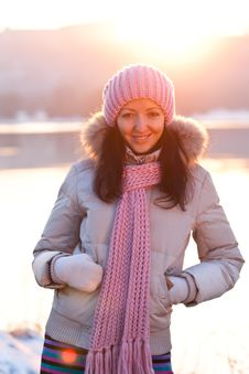 Positive Smiling Girl In Winter Clothes Stock Photo