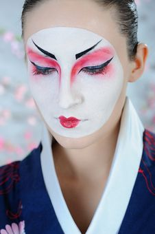 Free Japan Geisha Woman With Creative Make-up Royalty Free Stock Image - 18641916