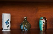 Free Earthenware On Wooden Shelf Royalty Free Stock Image - 18641986