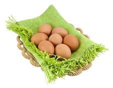Free Easter Eggs In Brown Basket Royalty Free Stock Photos - 18642538
