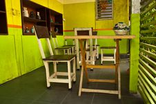 Wooden Group Of Table And Chiar For Eat