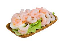 Open Sandwich With Shrimps, Salad And Anchovy Royalty Free Stock Image