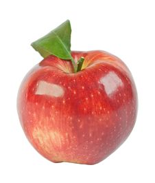 Free Red Ripe Apple With Green Leaf Stock Image - 18644021