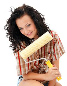 Sexy Craftswoman With A Roller Brush Stock Images