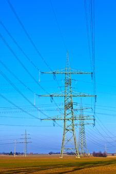 Free High Voltage Tower On A Background With Sky Stock Photo - 18644910