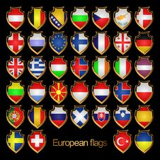 Free European Flags-badges. Stock Photo - 18645320