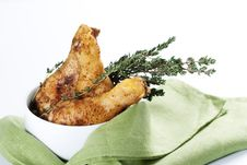 Free Roasted Chicken Legs With Thyme Royalty Free Stock Photos - 18645508