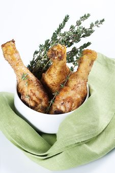 Free Roasted Chicken Legs With Thyme Royalty Free Stock Photos - 18645658