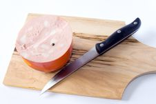 Free Mortadella And Knife Stock Images - 18645934