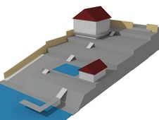 The House 3D Image On The Plan Stock Photography
