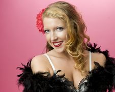Free Sexy Model Wearing Feather Boa Royalty Free Stock Photo - 18648155