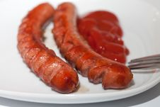 Grilled Sausages For Breakfast Stock Image