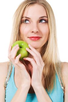 Free Cute Girl With Green Apple Stock Images - 18652214