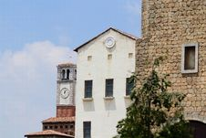 Italian Buildings With Clocktower Royalty Free Stock Photography