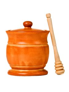 Free Ceramic Jar With Honey And Wooden Stick Royalty Free Stock Photos - 18656908