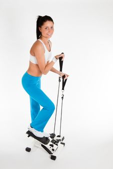 Free Woman Working Out On Stepper Trainer Royalty Free Stock Photo - 18656995