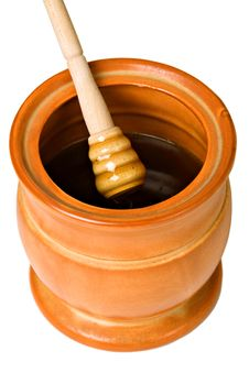 Free Ceramic Jar With Honey And Wooden Stick Royalty Free Stock Photo - 18657025