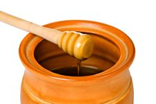 Free Ceramic Jar With Honey And Wooden Stick Stock Photos - 18657063