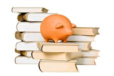 Free Clay Piggy Bank And Old-fashioned Books Royalty Free Stock Photography - 18657227